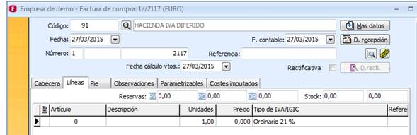 A3ERP IVA Diferido